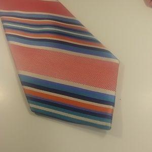 Nautica Pink Blue & Orange Striped Skinny Tie